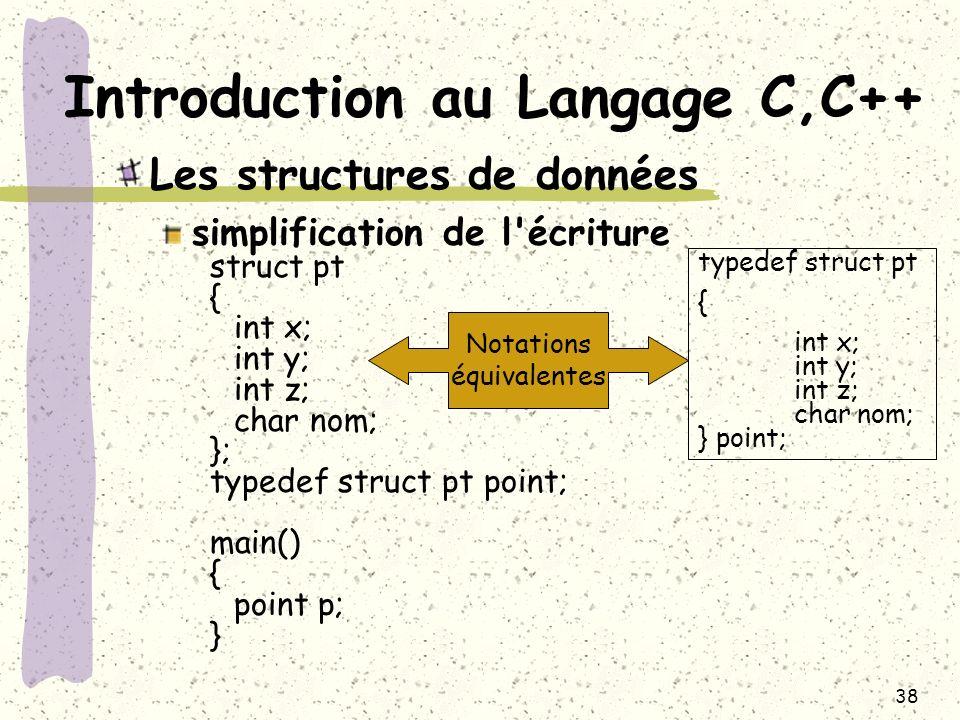 38 Introduction au Langage C,C++ Les structures de données simplification de l'écriture struct pt { int x; int y; int z; char nom; }; typedef struct p
