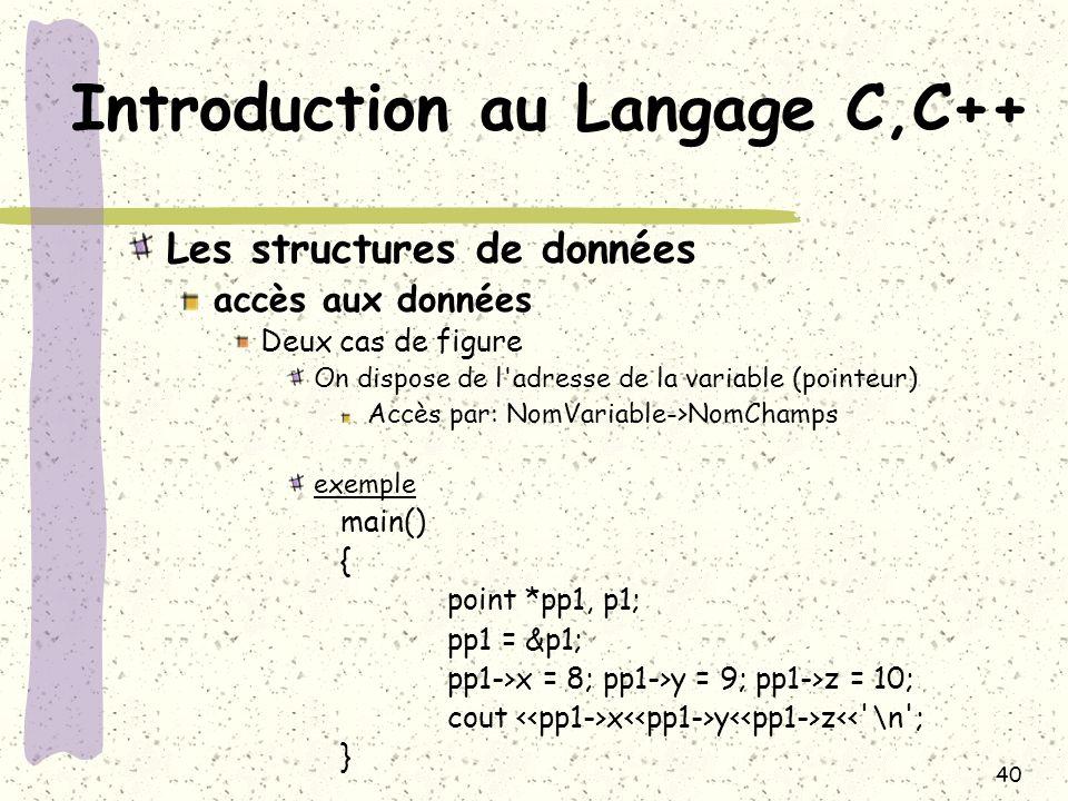 40 Introduction au Langage C,C++ Les structures de données accès aux données Deux cas de figure On dispose de l'adresse de la variable (pointeur) Accè