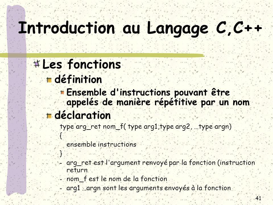 41 Introduction au Langage C,C++ Les fonctions définition Ensemble d'instructions pouvant être appelés de manière répétitive par un nom déclaration ty