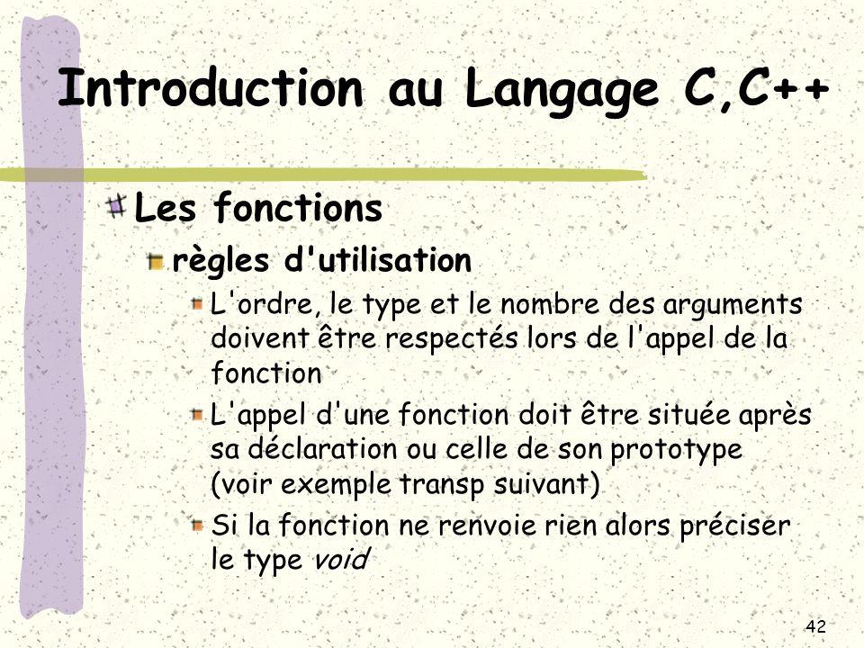 42 Introduction au Langage C,C++ Les fonctions règles d'utilisation L'ordre, le type et le nombre des arguments doivent être respectés lors de l'appel