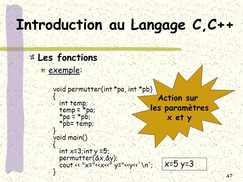 47 Introduction au Langage C,C++ Les fonctions exemple: void permutter(int *pa, int *pb) { int temp; temp = *pa; *pa = *pb; *pb= temp; } void main() {