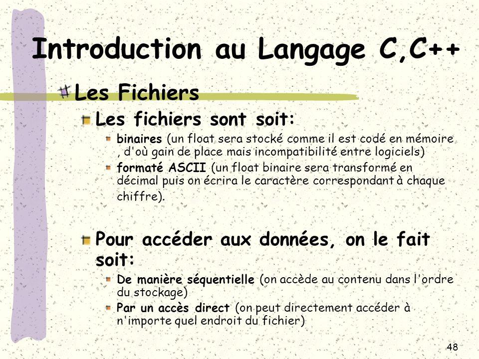 48 Introduction au Langage C,C++ Les Fichiers Les fichiers sont soit: binaires (un float sera stocké comme il est codé en mémoire, d'où gain de place