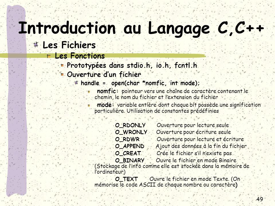 49 Introduction au Langage C,C++ Les Fichiers Les Fonctions Prototypées dans stdio.h, io.h, fcntl.h Ouverture dun fichier handle = open(char *nomfic,