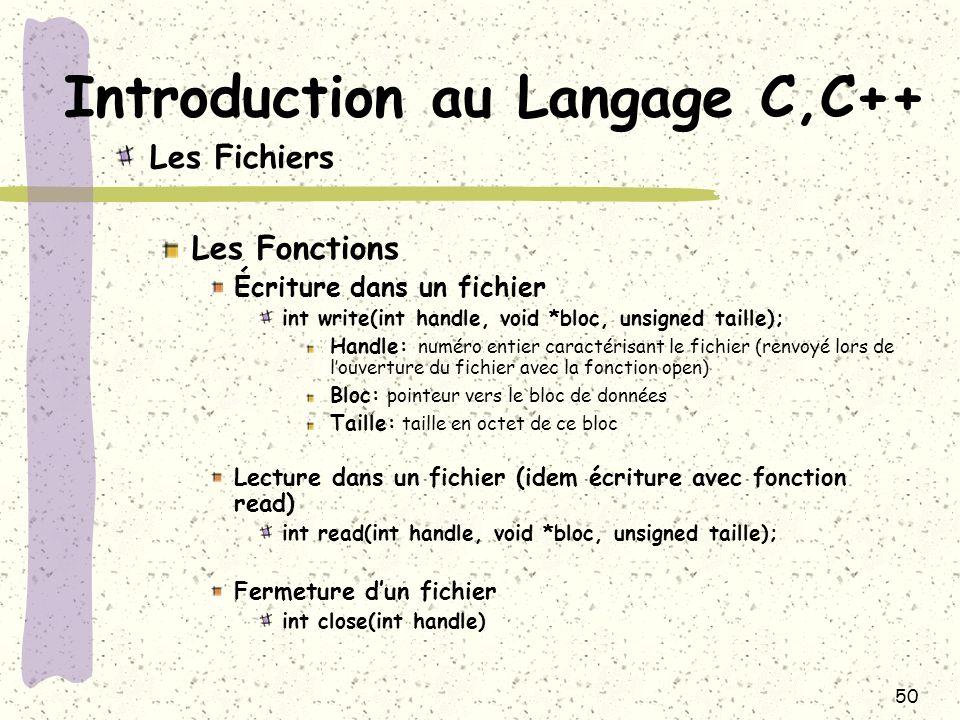 50 Introduction au Langage C,C++ Les Fichiers Les Fonctions Écriture dans un fichier int write(int handle, void *bloc, unsigned taille); Handle: numér