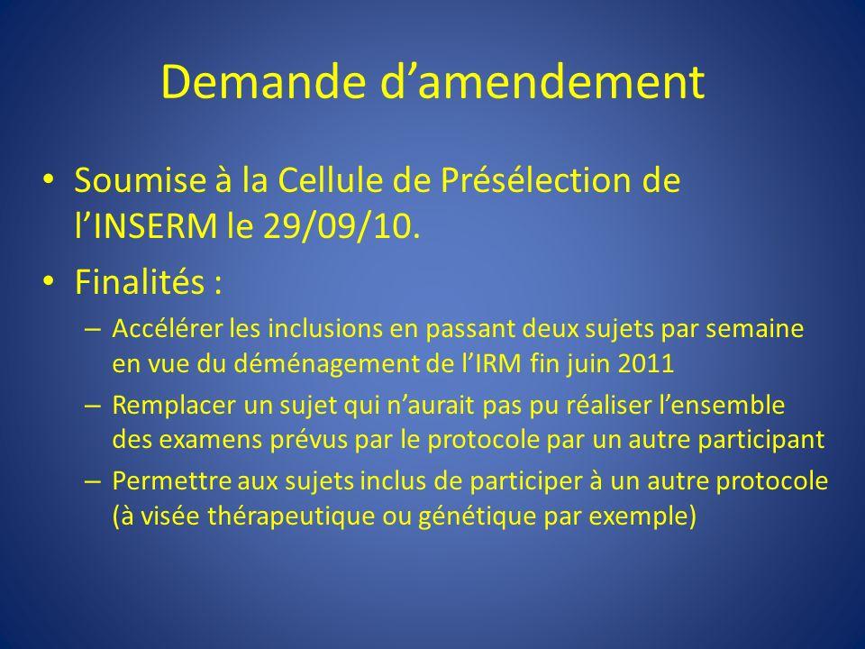 Demande damendement Soumise à la Cellule de Présélection de lINSERM le 29/09/10.