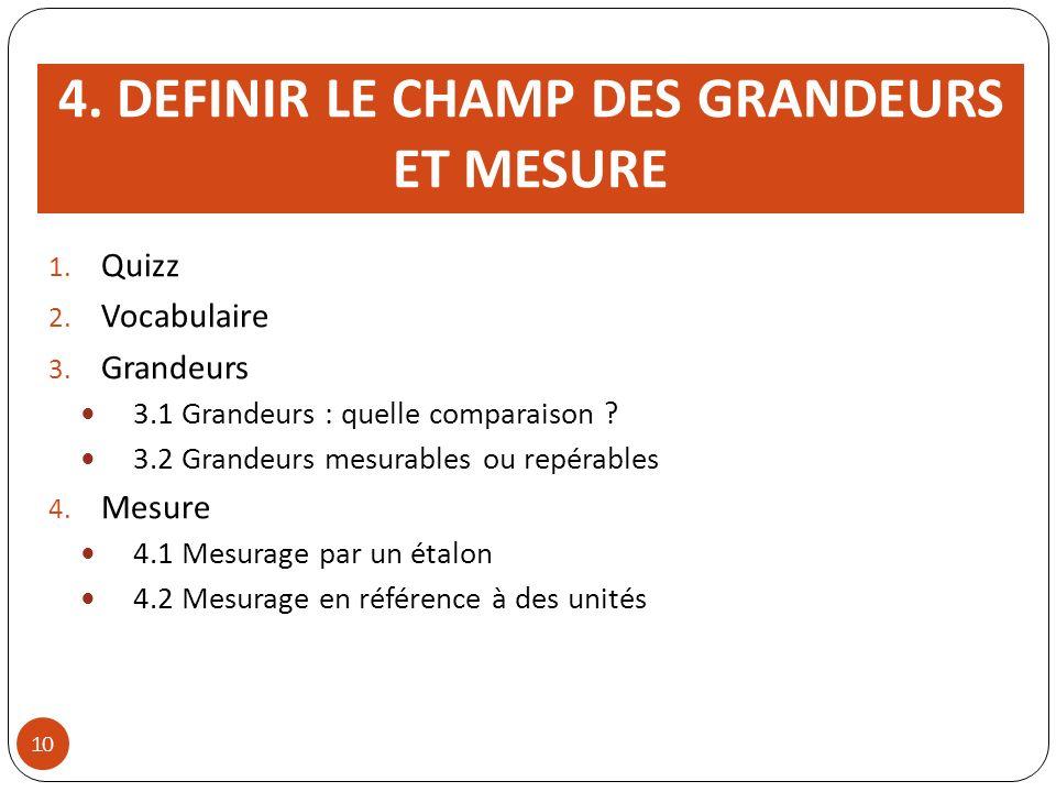 4.DEFINIR LE CHAMP DES GRANDEURS ET MESURE 1. Quizz 2.