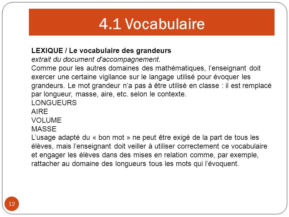 4.1 Vocabulaire 12 LEXIQUE / Le vocabulaire des grandeurs extrait du document d'accompagnement. Comme pour les autres domaines des mathématiques, lens