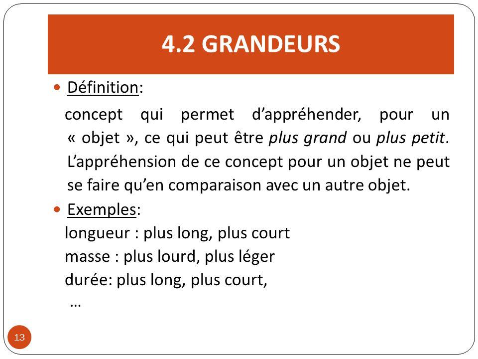 4.2 GRANDEURS 13 Définition: concept qui permet dappréhender, pour un « objet », ce qui peut être plus grand ou plus petit. Lappréhension de ce concep
