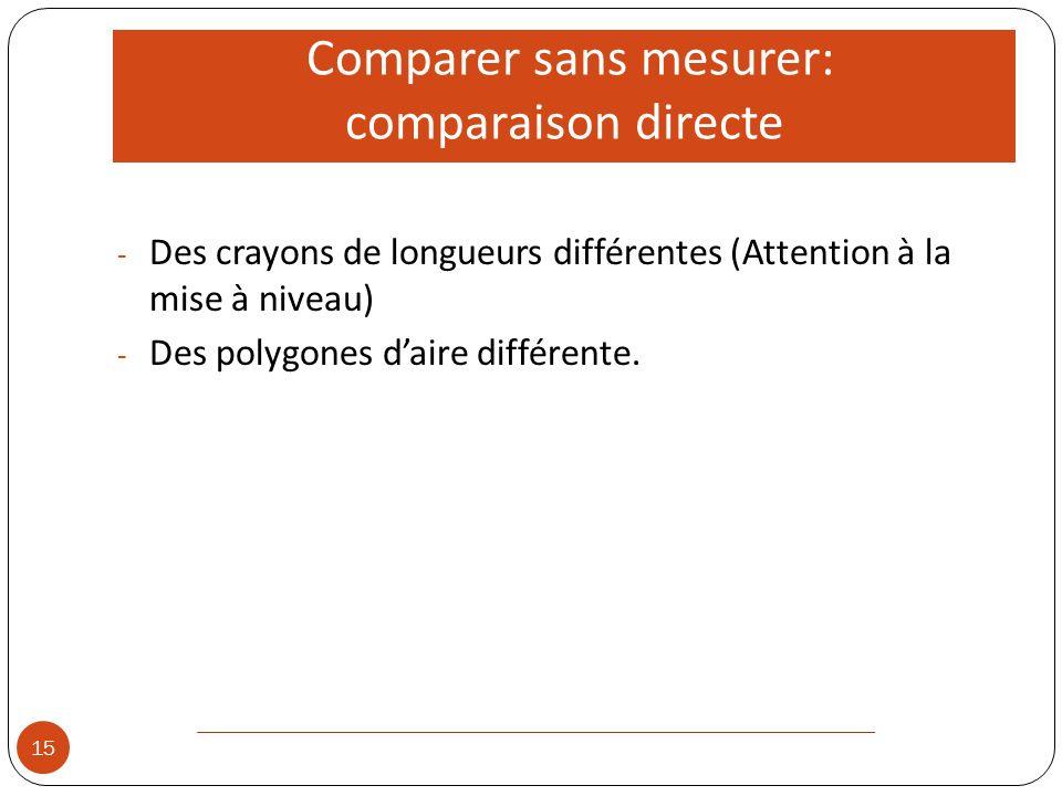 Comparer sans mesurer: comparaison directe 15 - Des crayons de longueurs différentes (Attention à la mise à niveau) - Des polygones daire différente.