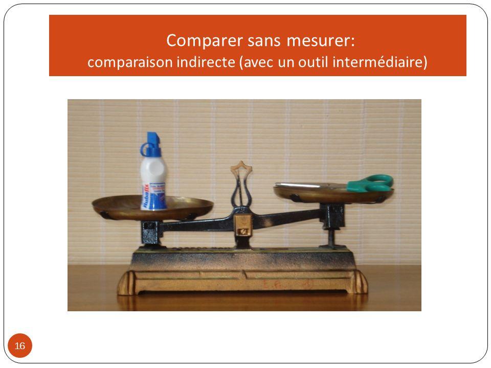 16 Comparer sans mesurer: comparaison indirecte (avec un outil intermédiaire)