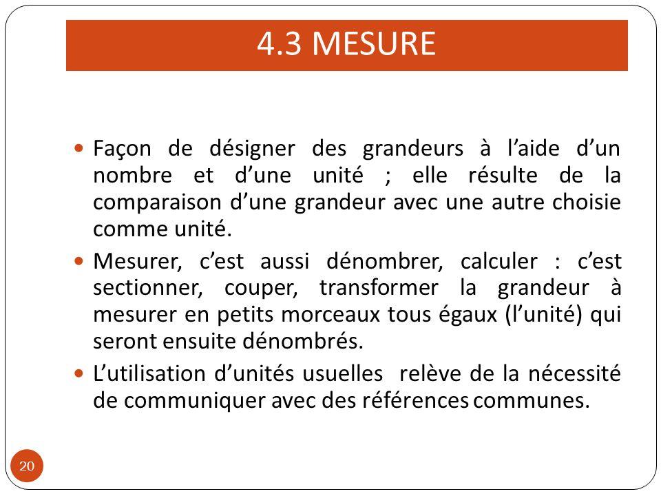 4.3 MESURE 20 Façon de désigner des grandeurs à laide dun nombre et dune unité ; elle résulte de la comparaison dune grandeur avec une autre choisie comme unité.