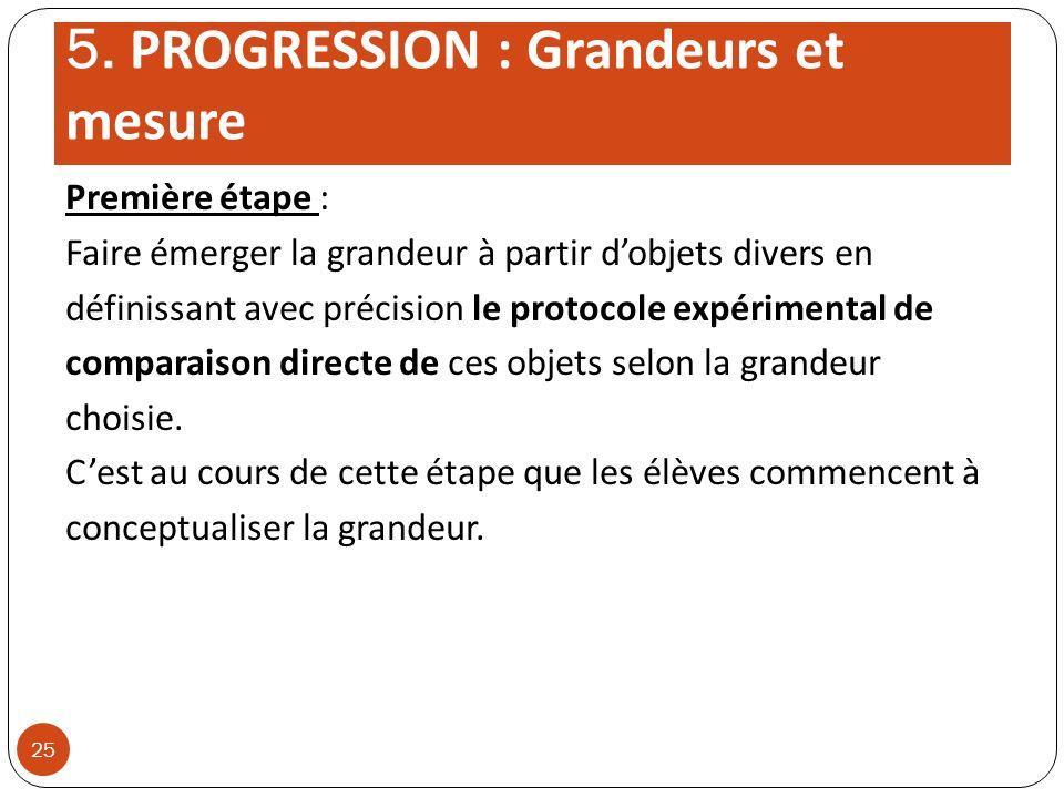 5. PROGRESSION : Grandeurs et mesure Première étape : Faire émerger la grandeur à partir dobjets divers en définissant avec précision le protocole exp