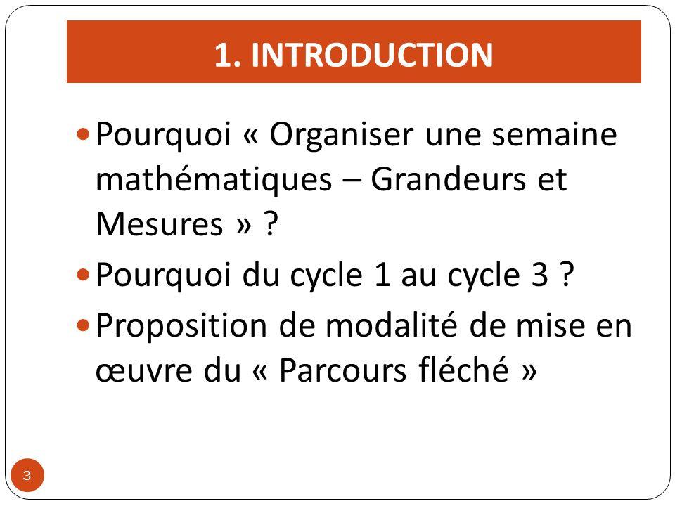1. INTRODUCTION Pourquoi « Organiser une semaine mathématiques – Grandeurs et Mesures » ? Pourquoi du cycle 1 au cycle 3 ? Proposition de modalité de