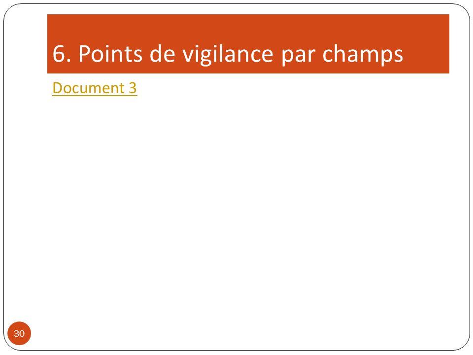 6. Points de vigilance par champs Document 3 30