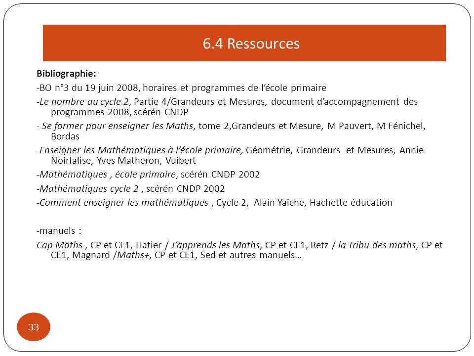 Bibliographie: -BO n°3 du 19 juin 2008, horaires et programmes de lécole primaire -Le nombre au cycle 2, Partie 4/Grandeurs et Mesures, document dacco