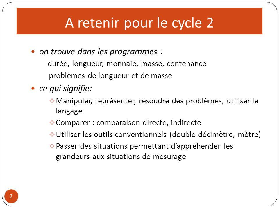A retenir pour le cycle 2 on trouve dans les programmes : durée, longueur, monnaie, masse, contenance problèmes de longueur et de masse ce qui signifi