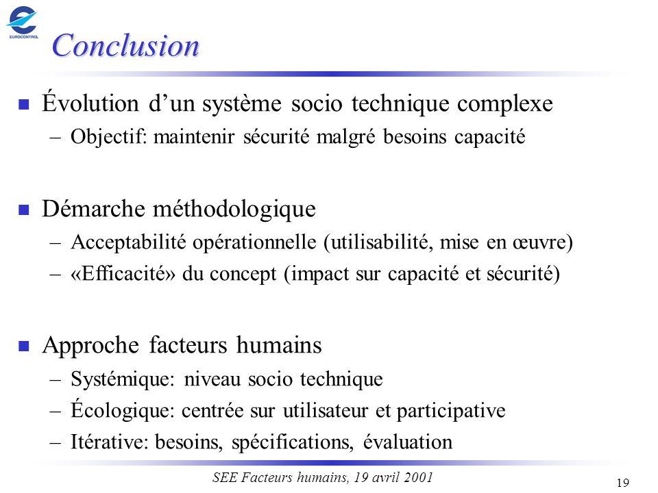 19 SEE Facteurs humains, 19 avril 2001 Conclusion n Évolution dun système socio technique complexe –Objectif: maintenir sécurité malgré besoins capaci