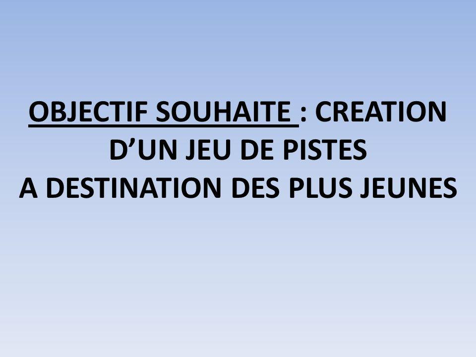 OBJECTIF SOUHAITE : CREATION DUN JEU DE PISTES A DESTINATION DES PLUS JEUNES