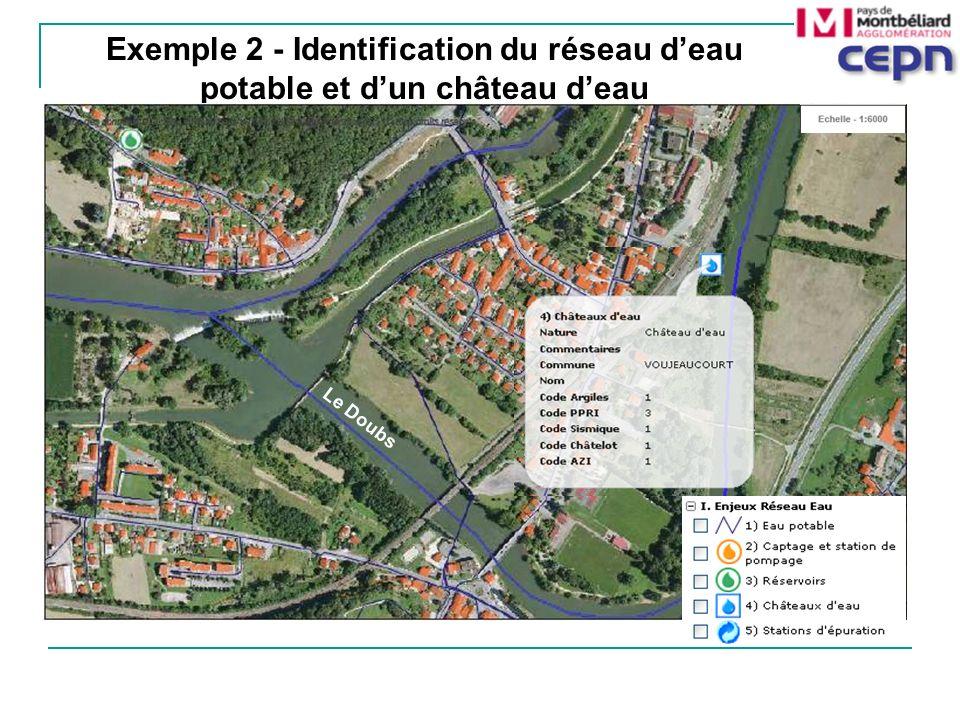 Exemple 2 - Identification du réseau deau potable et dun château deau Le Doubs