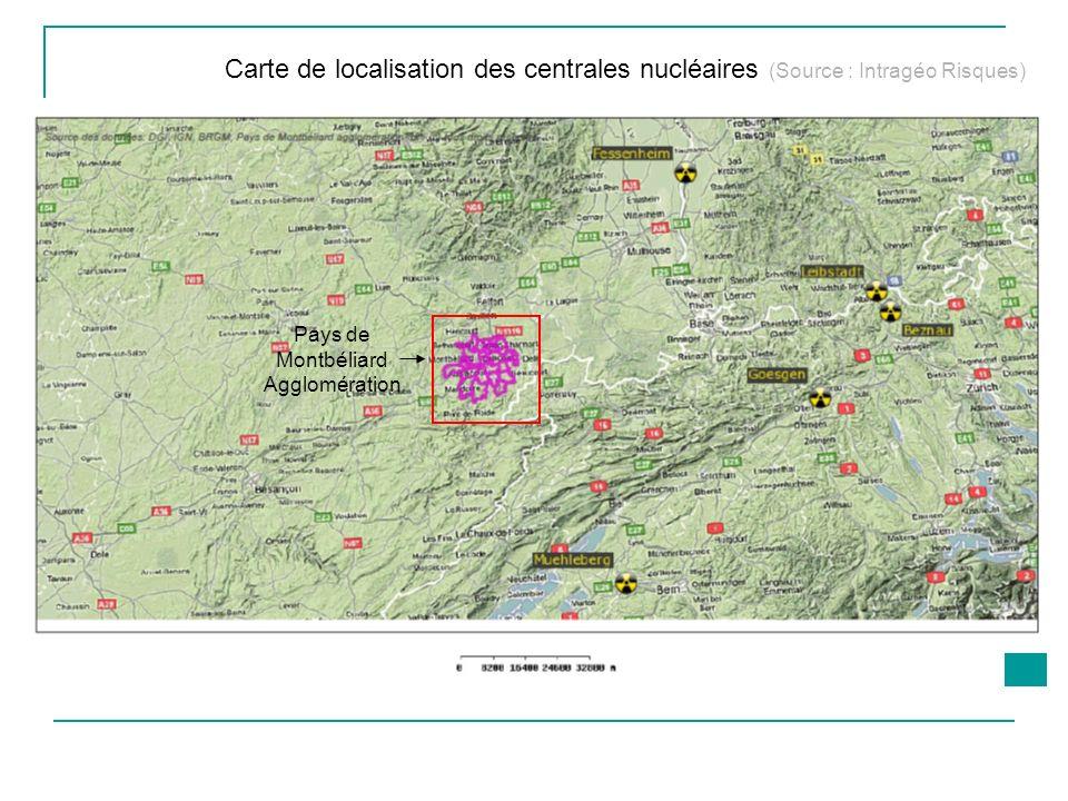 Pays de Montbéliard Agglomération Carte de localisation des centrales nucléaires (Source : Intragéo Risques)
