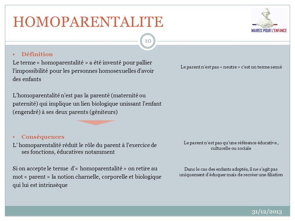 HOMOPARENTALITE 31/12/2013 10 Définition Le terme « homoparentalité » a été inventé pour pallier limpossibilité pour les personnes homosexuelles davoi