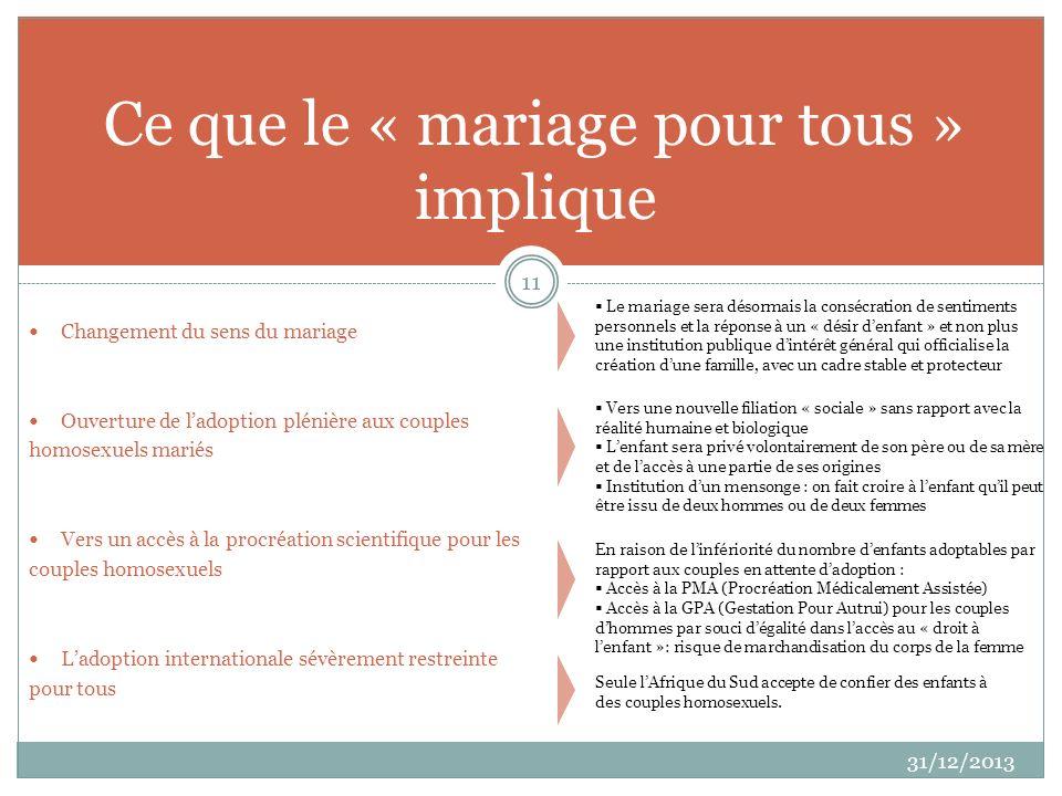 Changement du sens du mariage Ouverture de ladoption plénière aux couples homosexuels mariés Vers un accès à la procréation scientifique pour les coup
