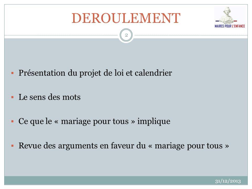 DEROULEMENT 31/12/2013 2 Présentation du projet de loi et calendrier Le sens des mots Ce que le « mariage pour tous » implique Revue des arguments en
