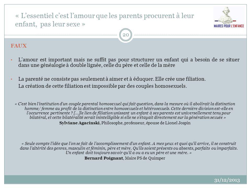 « Lessentiel cest lamour que les parents procurent à leur enfant, pas leur sexe » 31/12/2013 20 FAUX Lamour est important mais ne suffit pas pour stru