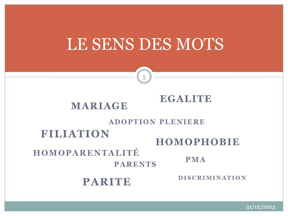 MARIAGE 31/12/2013 5 LE SENS DES MOTS DISCRIMINATION ADOPTION PLENIERE HOMOPHOBIE EGALITE PMA HOMOPARENTALITÉ PARENTS PARITE FILIATION