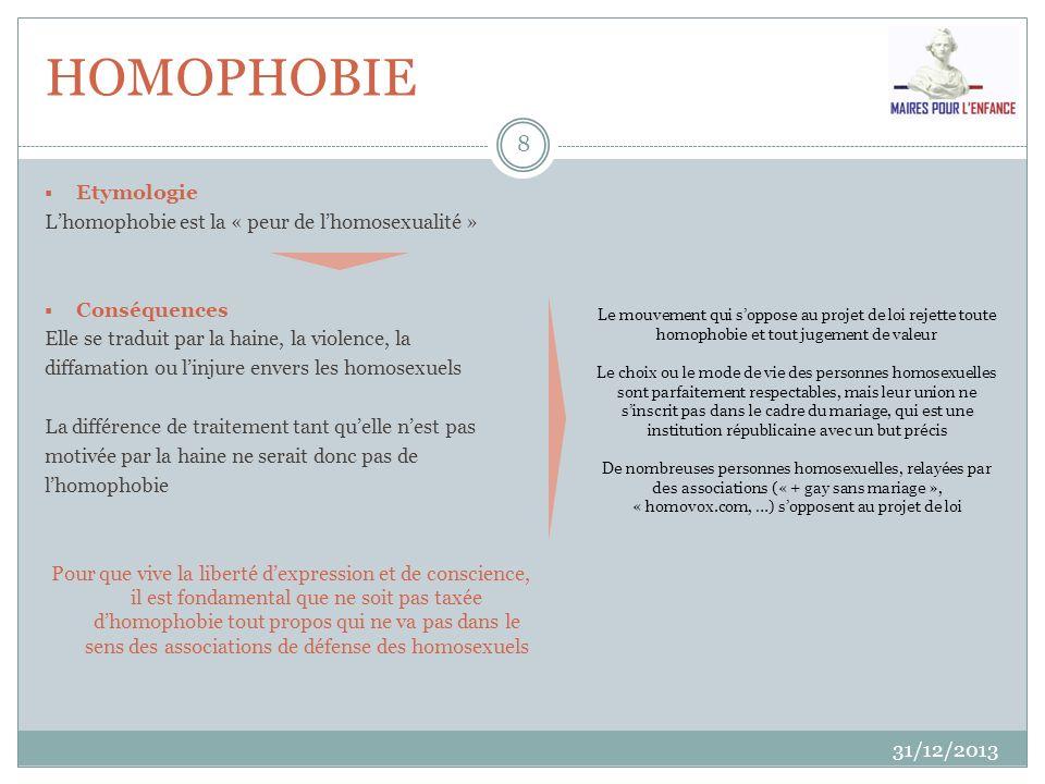 HOMOPHOBIE 31/12/2013 8 Etymologie Lhomophobie est la « peur de lhomosexualité » Conséquences Elle se traduit par la haine, la violence, la diffamatio