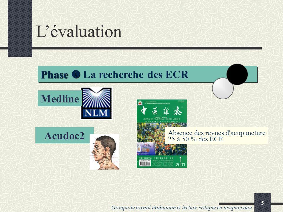 Groupe de travail évaluation et lecture critique en acupuncture 4 Lévaluation deux phases Phase Phase Le décompte et la négociation Phase Phase La recherche des ECR