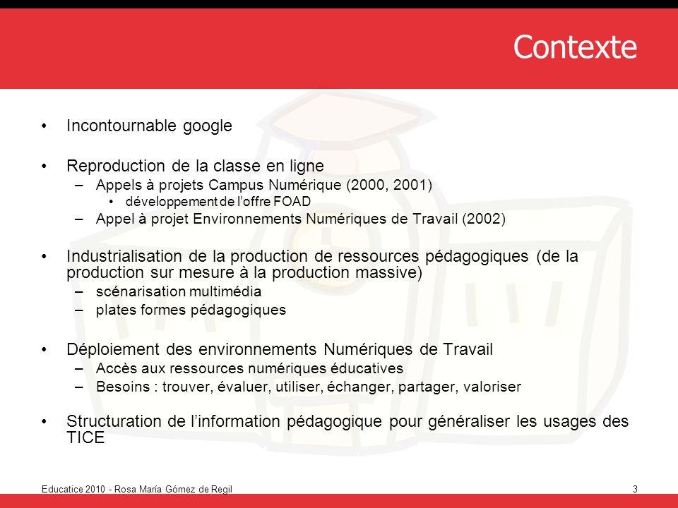 Educatice 2010 - Rosa María Gómez de Regil3 Contexte Incontournable google Reproduction de la classe en ligne –Appels à projets Campus Numérique (2000