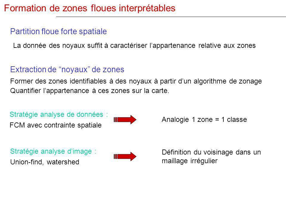 Former des zones identifiables à des noyaux à partir dun algorithme de zonage Quantifier lappartenance à ces zones sur la carte. Extraction de noyaux