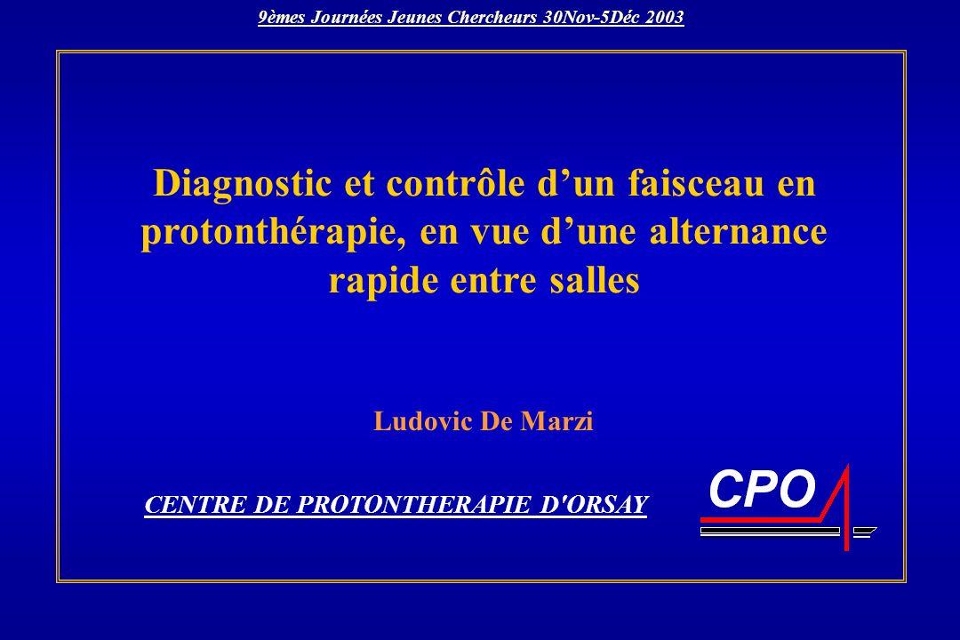 Diagnostic et contrôle dun faisceau en protonthérapie, en vue dune alternance rapide entre salles CENTRE DE PROTONTHERAPIE D'ORSAY Ludovic De Marzi 9è