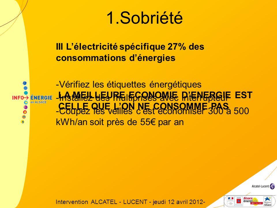 III Lélectricité spécifique 27% des consommations dénergies -Vérifiez les étiquettes énergétiques -Installez des multiprises avec interrupteur -Coupez