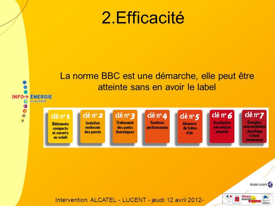 La norme BBC est une démarche, elle peut être atteinte sans en avoir le label 2.Efficacité Intervention ALCATEL - LUCENT - jeudi 12 avril 2012-