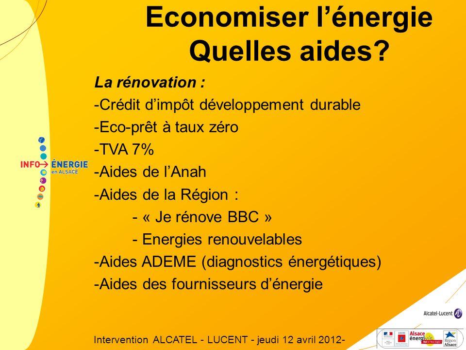 La rénovation : -Crédit dimpôt développement durable -Eco-prêt à taux zéro -TVA 7% -Aides de lAnah -Aides de la Région : - « Je rénove BBC » - Energie