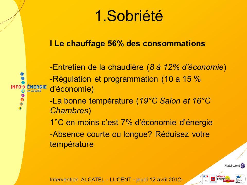 I Le chauffage 56% des consommations -Entretien de la chaudière (8 à 12% déconomie) -Régulation et programmation (10 a 15 % déconomie) -La bonne tempé