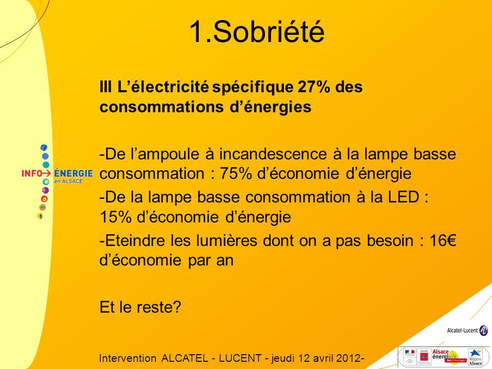 III Lélectricité spécifique 27% des consommations dénergies -De lampoule à incandescence à la lampe basse consommation : 75% déconomie dénergie -De la