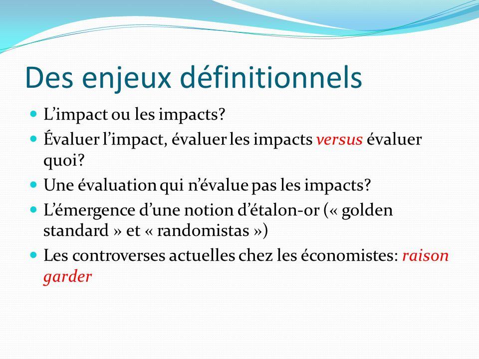 Des enjeux définitionnels Limpact ou les impacts.