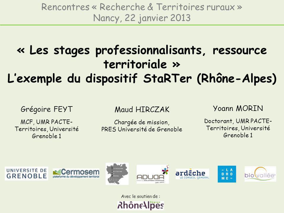« Les stages professionnalisants, ressource territoriale » Lexemple du dispositif StaRTer (Rhône-Alpes) Avec le soutien de : Rencontres « Recherche &