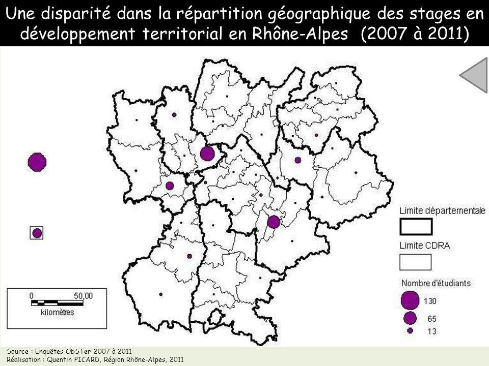 Une disparité dans la répartition géographique des stages en développement territorial en Rhône-Alpes (2007 à 2011) Source : Enquêtes ObSTer 2007 à 20