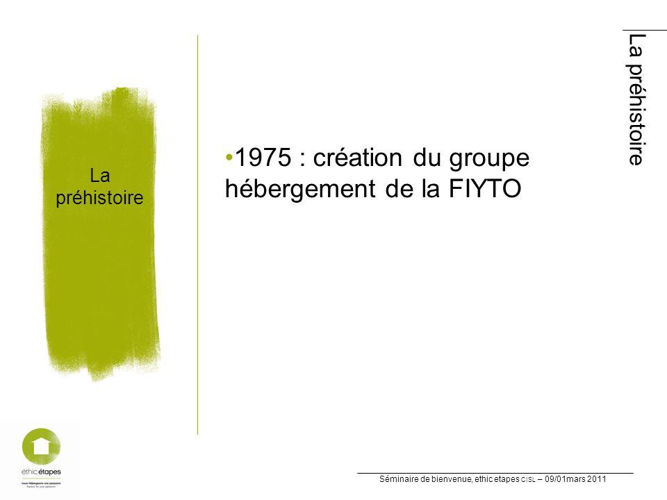 Séminaire de bienvenue, ethic etapes CISL – 09/01mars 2011 La préhistoire La préhistoire 1975 : création du groupe hébergement de la FIYTO