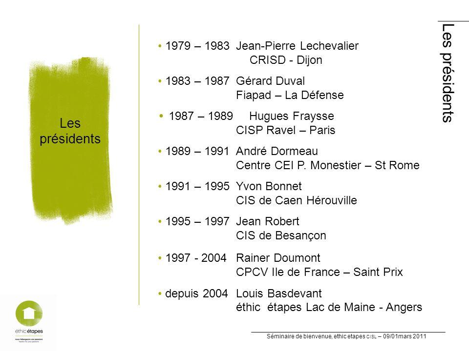 Séminaire de bienvenue, ethic etapes CISL – 09/01mars 2011 Les présidents Les présidents 1979 – 1983 Jean-Pierre Lechevalier CRISD - Dijon 1983 – 1987 Gérard Duval Fiapad – La Défense 1987 – 1989 Hugues Fraysse CISP Ravel – Paris 1989 – 1991 André Dormeau Centre CEI P.