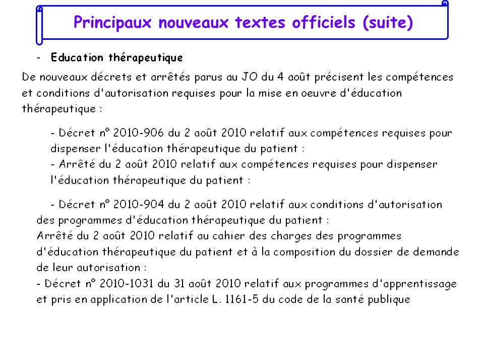 Principaux nouveaux textes officiels (suite)