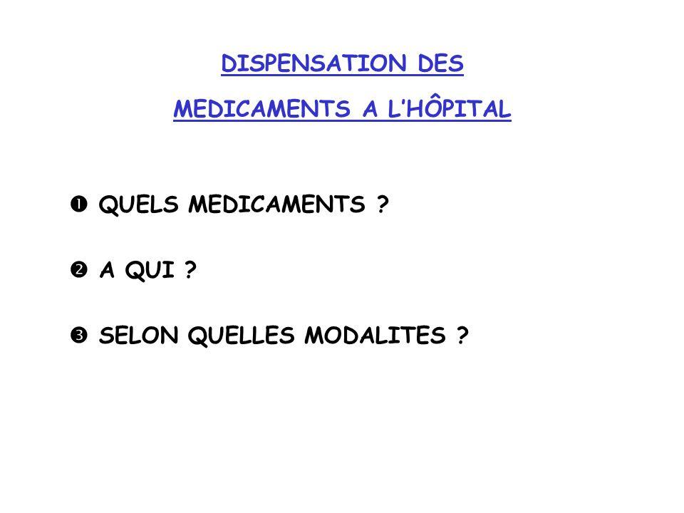 DISPENSATION DES MEDICAMENTS A LHÔPITAL QUELS MEDICAMENTS ? A QUI ? SELON QUELLES MODALITES ?