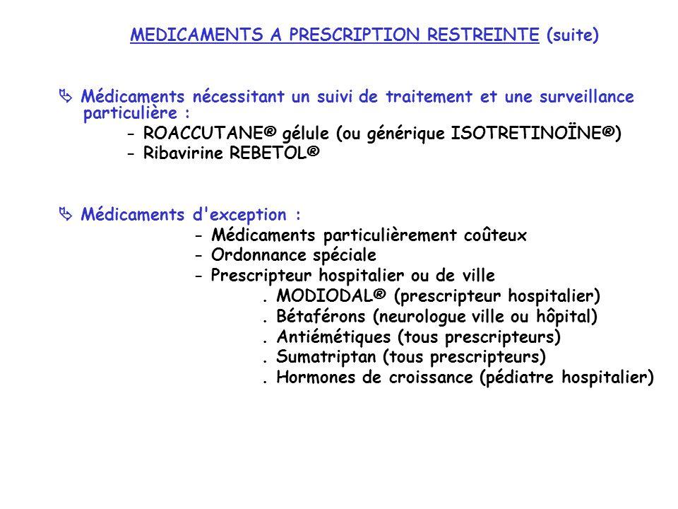 MEDICAMENTS A PRESCRIPTION RESTREINTE (suite) Médicaments nécessitant un suivi de traitement et une surveillance particulière : - ROACCUTANE® gélule (