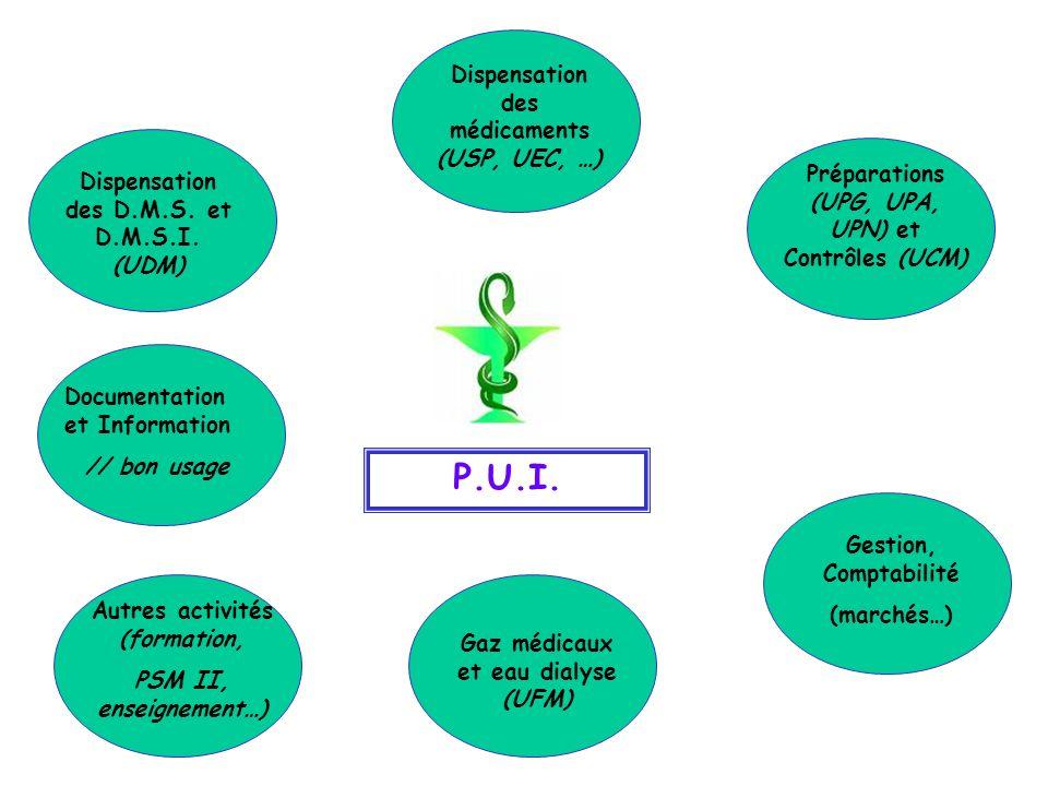 P.U.I. Documentation et Information // bon usage Dispensation des médicaments (USP, UEC, …) Préparations (UPG, UPA, UPN) et Contrôles (UCM) Dispensati