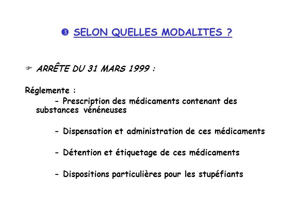 SELON QUELLES MODALITES ? ARRÊTE DU 31 MARS 1999 : Réglemente : - Prescription des médicaments contenant des substances vénéneuses - Dispensation et a