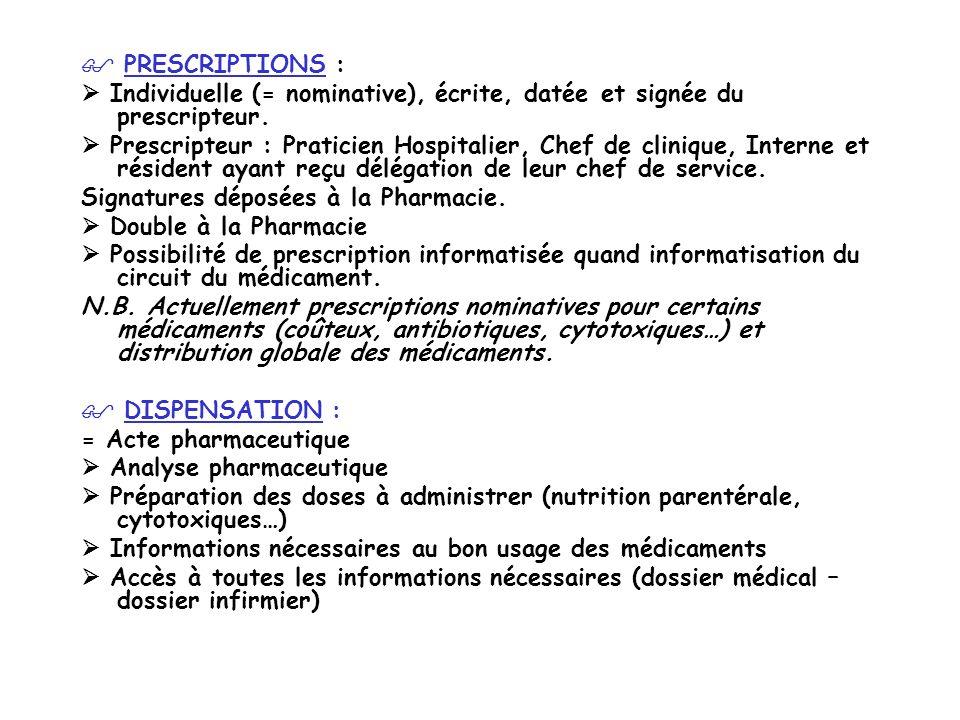 PRESCRIPTIONS : Individuelle (= nominative), écrite, datée et signée du prescripteur. Prescripteur : Praticien Hospitalier, Chef de clinique, Interne